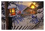 24 in x 16 in LED Canvas Wall Art - Winter Cabin Birds