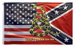 3' x 5' USA, Confederate, and Gasden Blended Flag - Yellow Snake