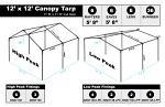 12 x 12 Heavy Duty Canopy Tarp - Silver