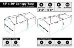 12 x 20 Heavy Duty Canopy Tarp - White