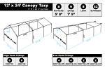 12 x 24 Heavy Duty Canopy Tarp - White