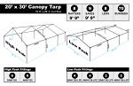 20 x 30 Heavy Duty Canopy Tarp - Silver