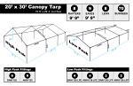 20 x 30 Heavy Duty Canopy Tarp - White