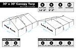 30 x 30 Heavy Duty Canopy Tarp - White