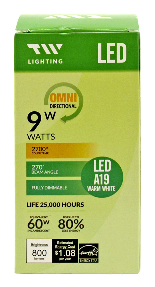 A19 LED Light Bulb - 800 Lumens - 2700k