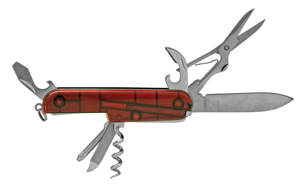 3.5 in Classic Utility Pocket Knife - Clear Red