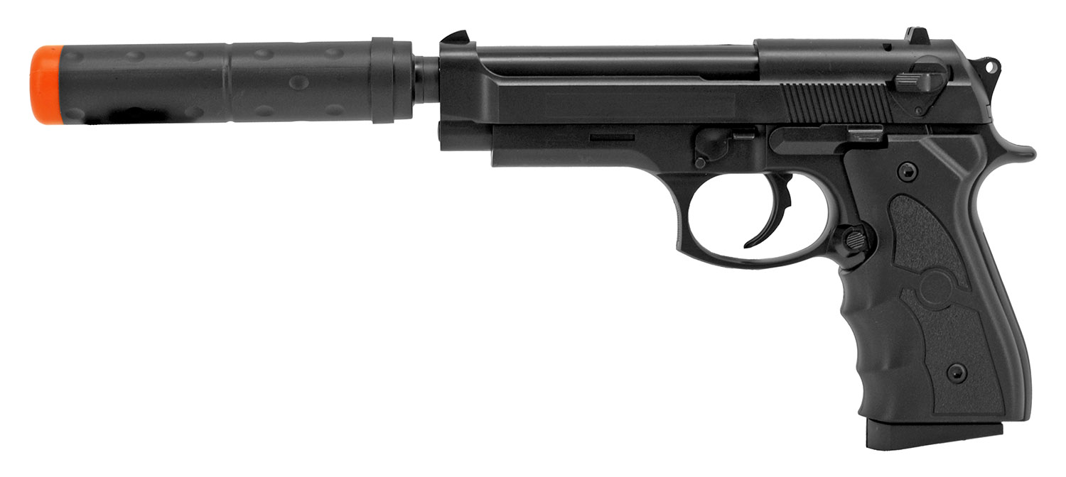 UKArms Airsoft Handgun with Silencer G52A - Black