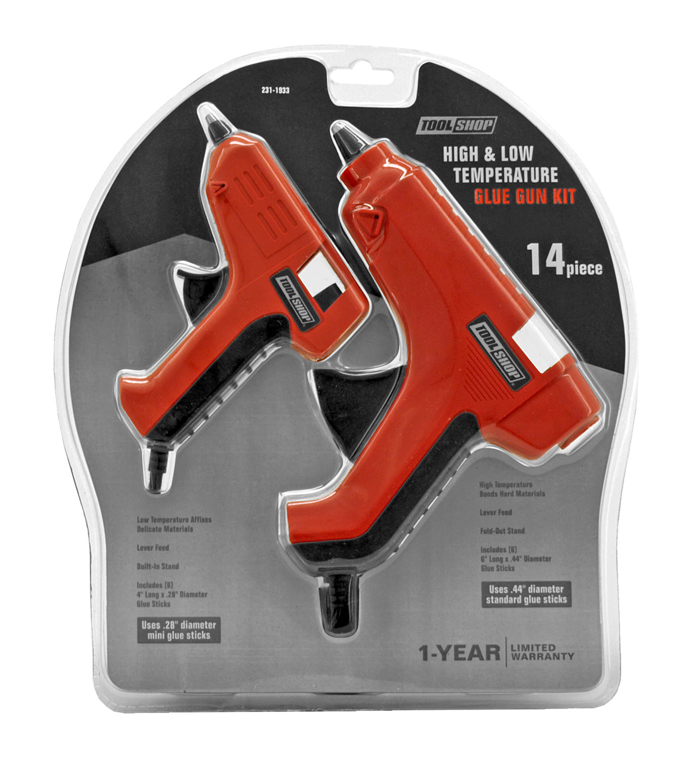 14 - pc. High and Low Temperature Glue Gun Kit