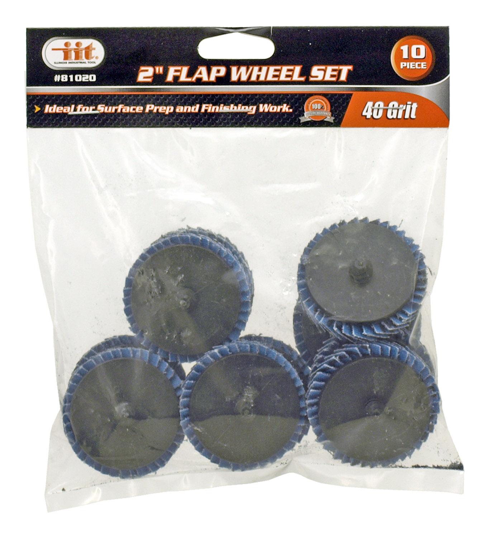 10 - pc. 2 in Flap Wheel Set - 40 Grit