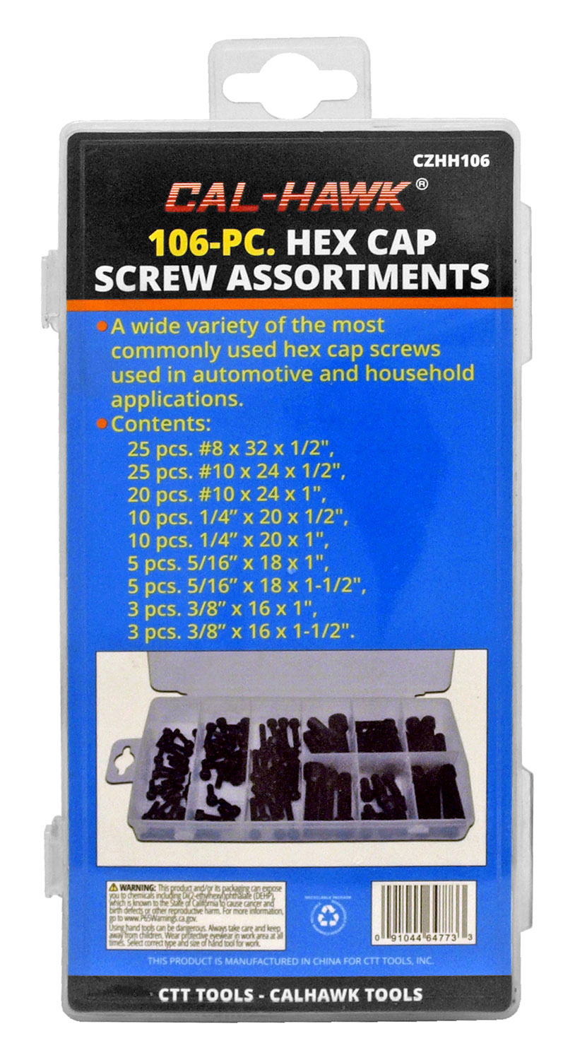 Cal-Hawk 106 - pc. Hex Cap Screw Assortments