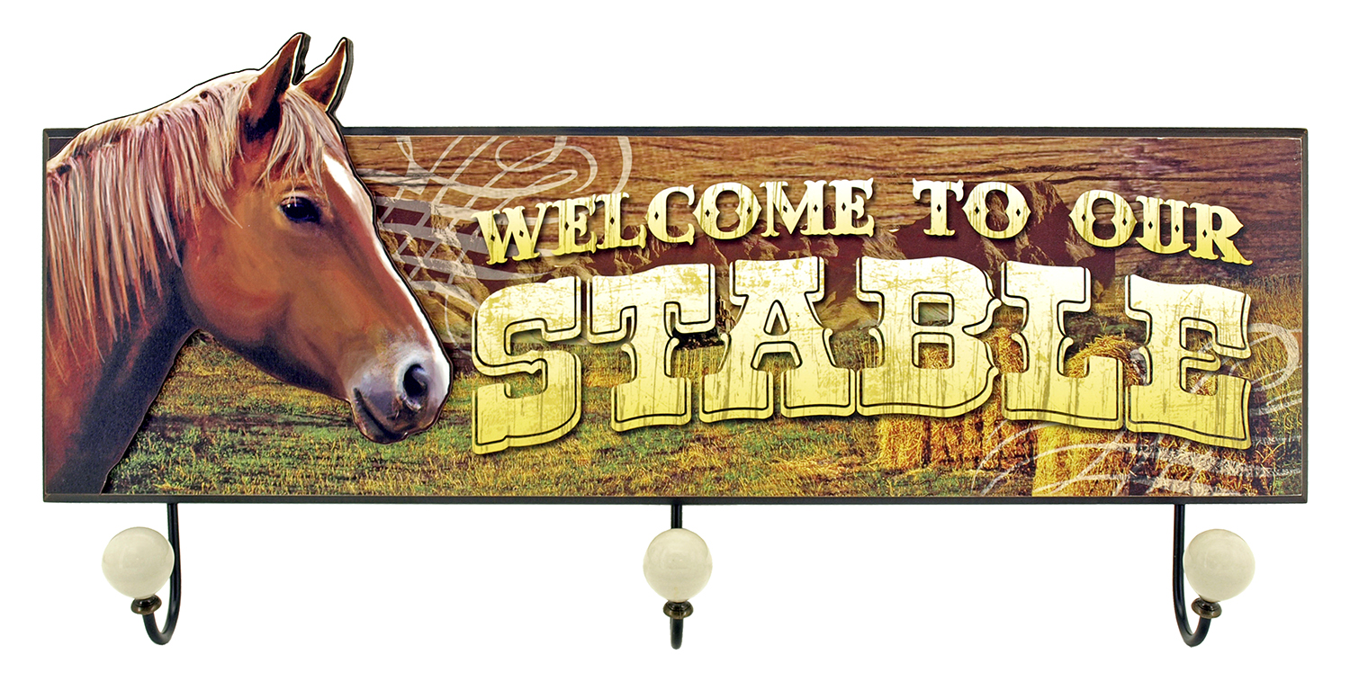 Welcome to Our Stable - Horse Coat Rack Sign