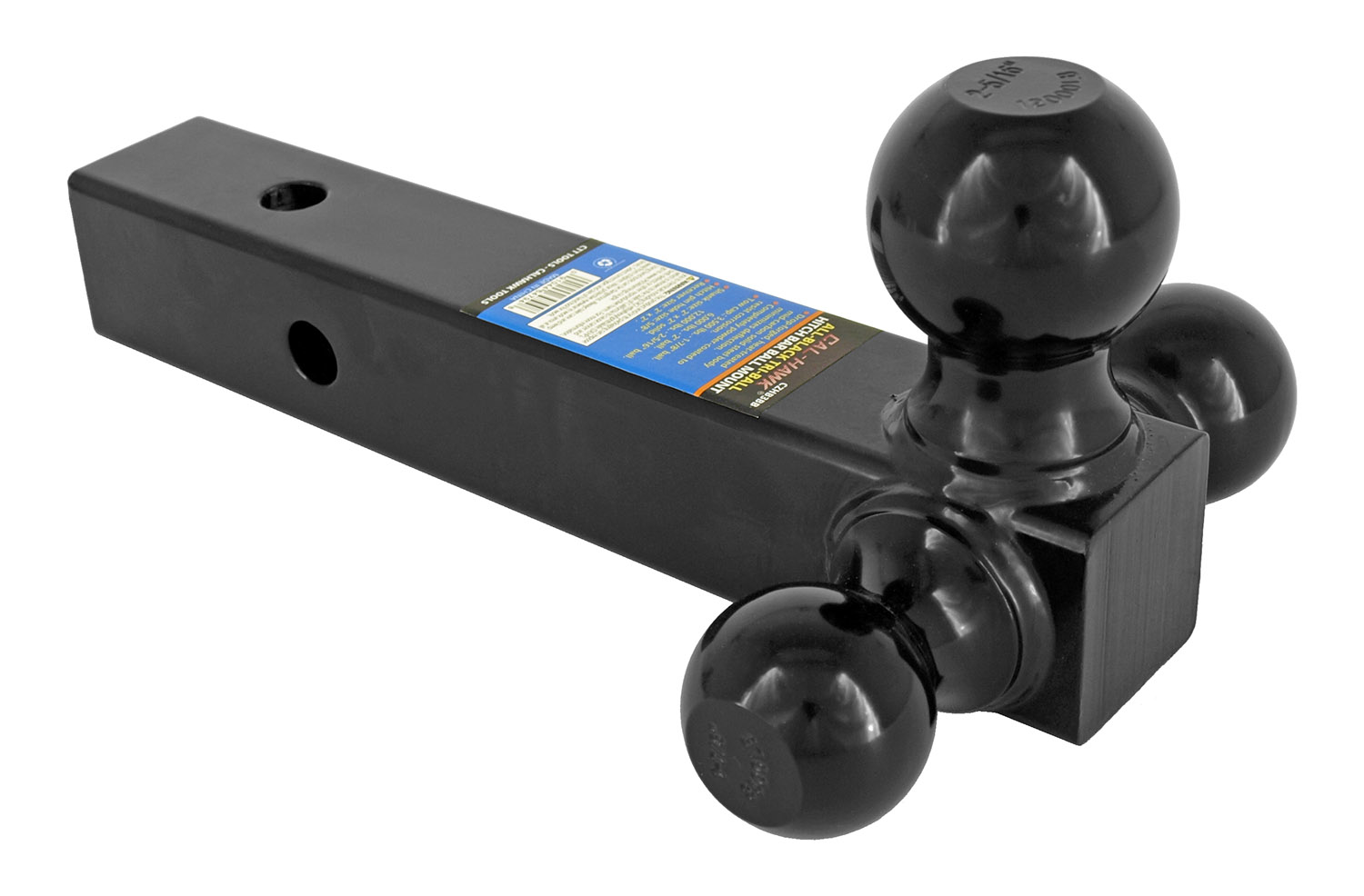 Cal-Hawk All-Black Tri-Ball Hitch Bar Ball Mount