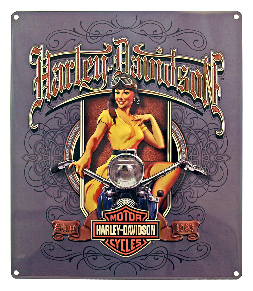 Harley Davidson Bomber Girl Tin Sign