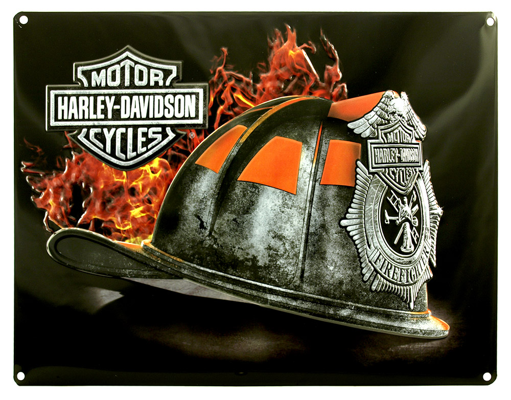 Harley Davidson Fire Helmet Tin Sign