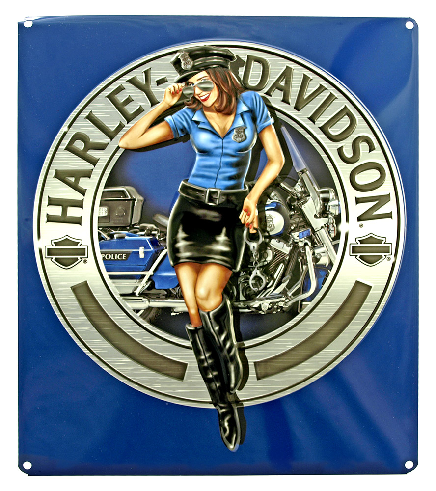 Harley Davidson Police Women Tin Sign
