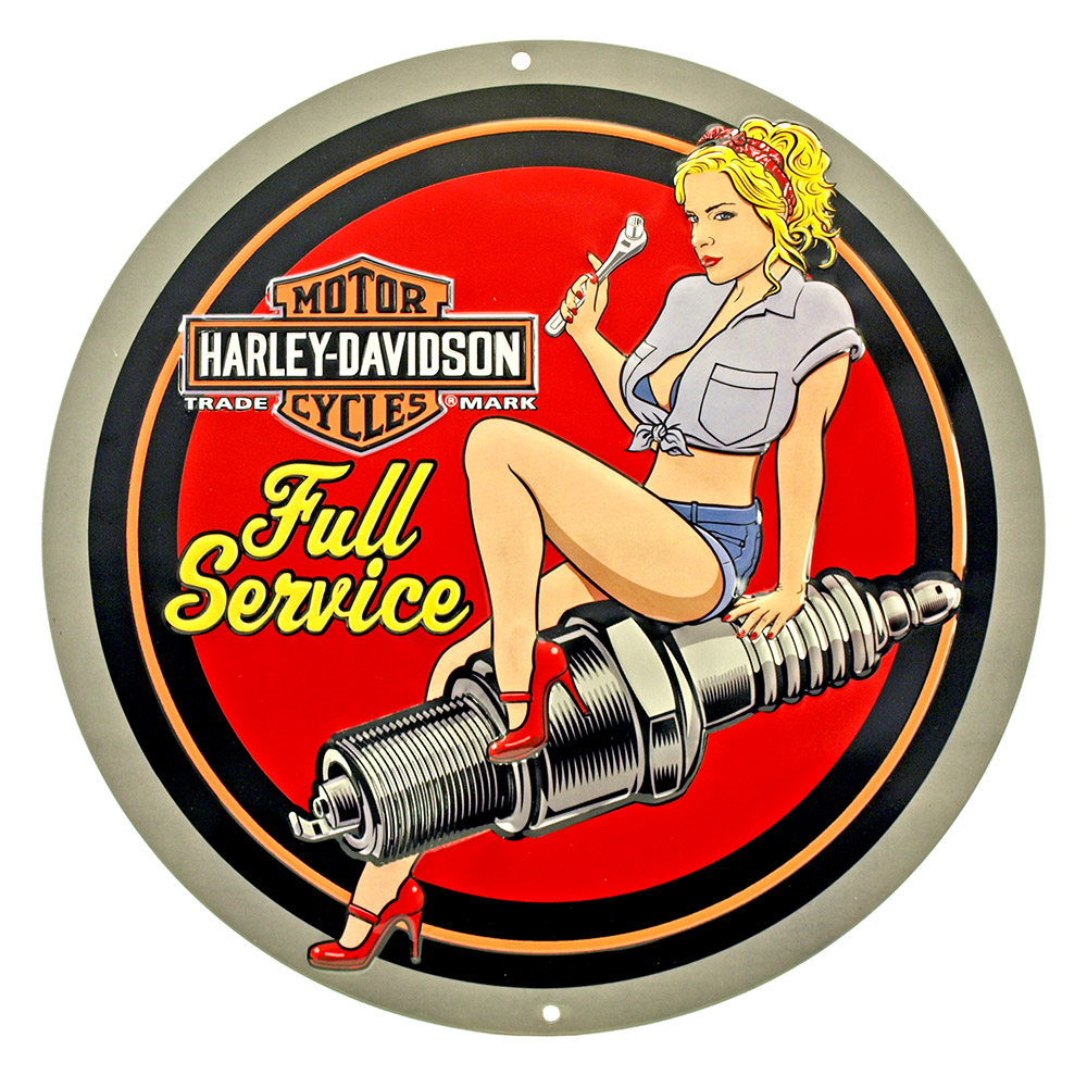 Harley Davidson Full Service Round Tin Sign