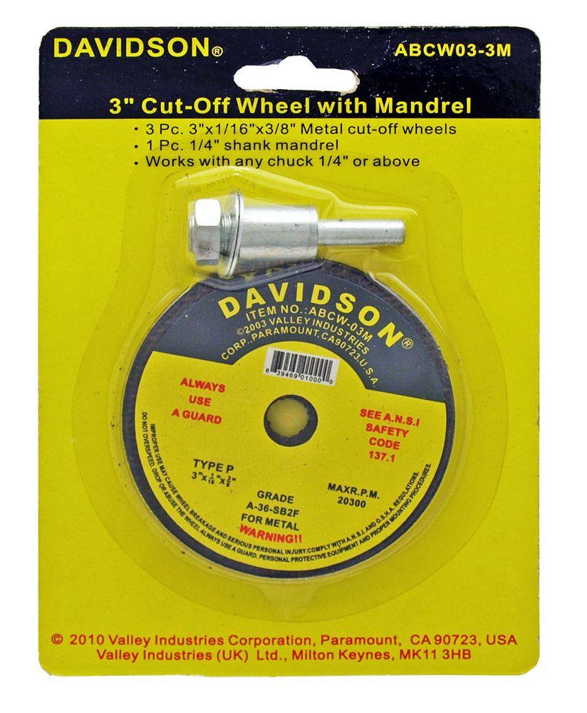 3-pc. 3 in Cut Off Wheel w/ Mandrel