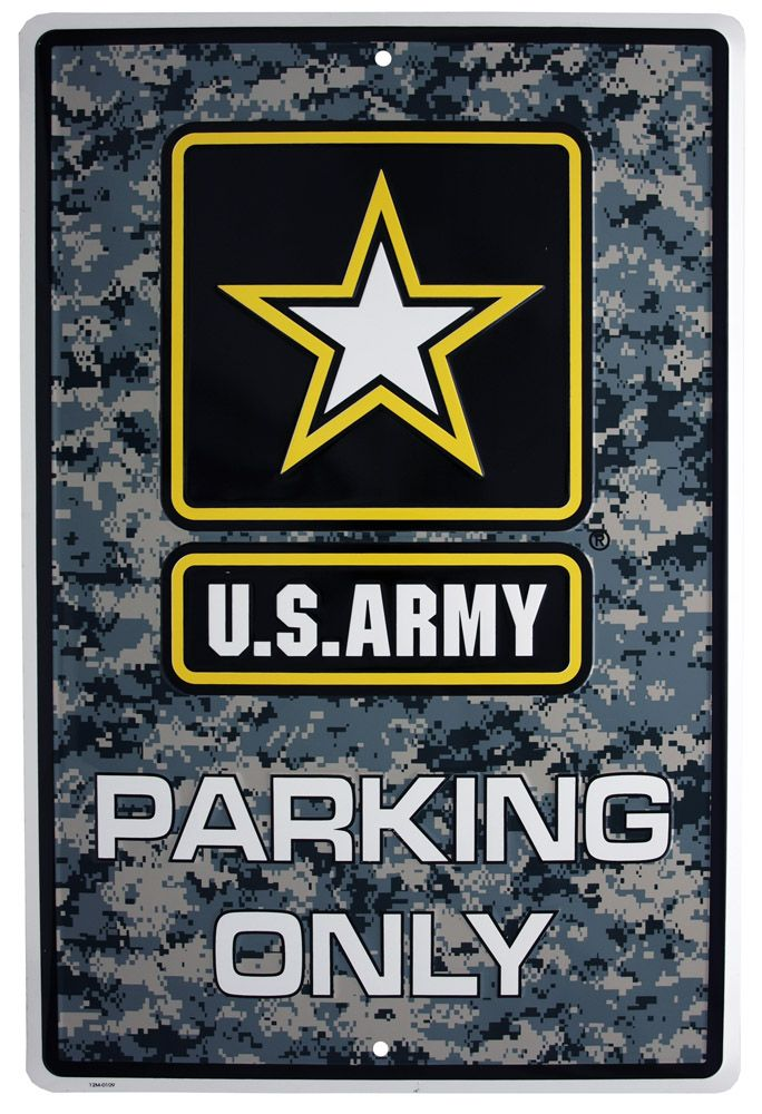 US Army Soldiers Parking Only Tin Sign - Digital Camo