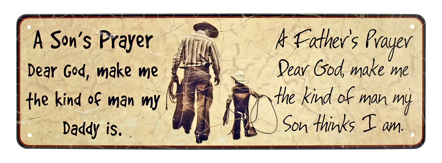 Father and Son Prayer Tin Sign