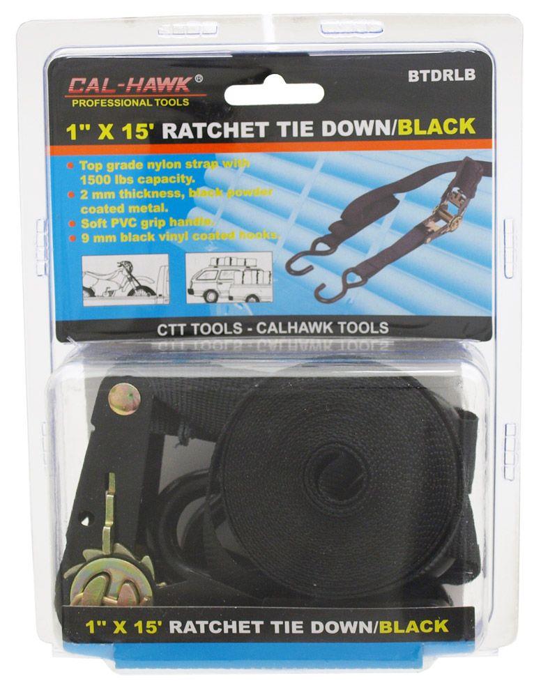 1 in x 15' Ratchet Tie Down - Black