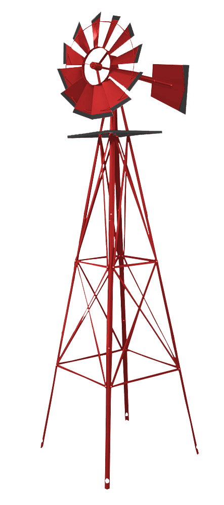 8' Wind Mill - Red & Black