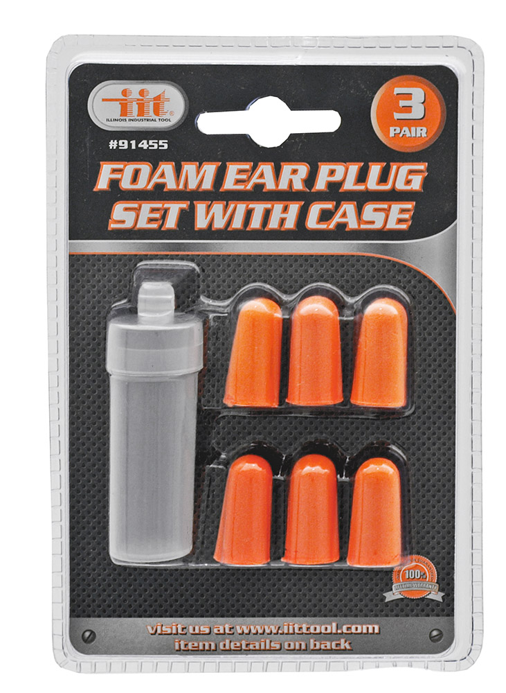 3-pair Foam Ear Plug Set With Case