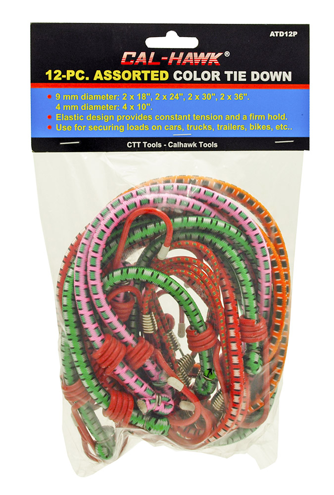 12-pc. Assorted Color Tie Downs