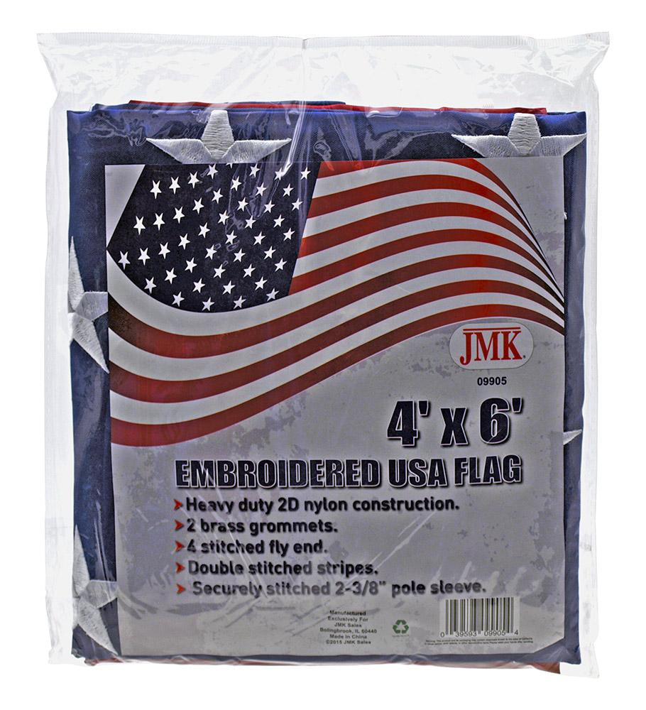 4' x 6' Emboridered USA Flag
