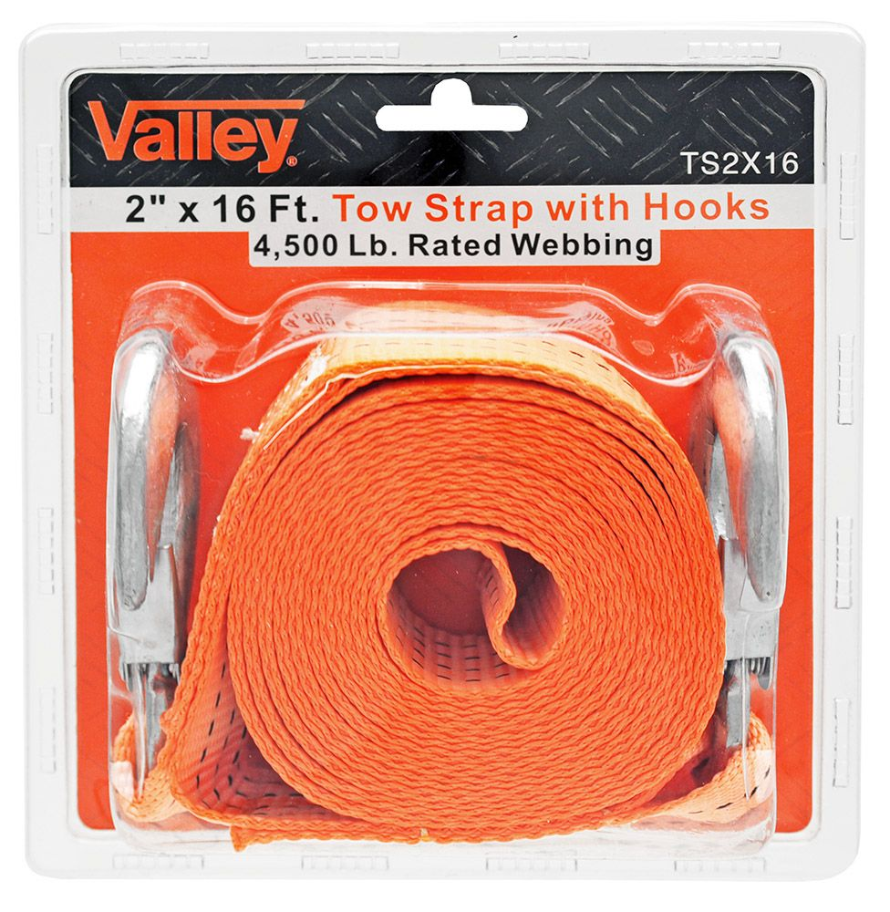 2 in x 16' Tow Strap with Hooks