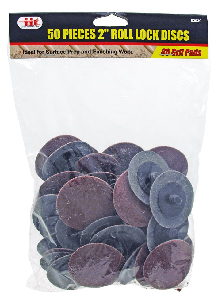 50-pc. 2 in Roll Lock Disc - 80 Grit