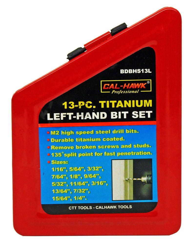 13-pc. Titanium Left-Hand Drill Bit Set