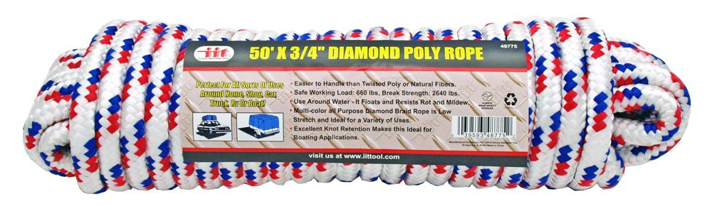 50' x 3/4 in Diamond Poly Rope