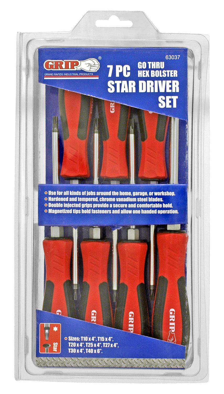 7 - pc. Go Thru Hex Bolster Star Driver Set