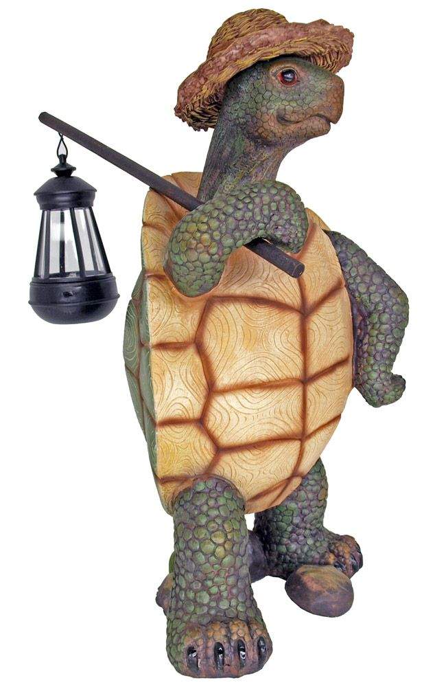 Hitch Hiking Turtle with Lantern Statue