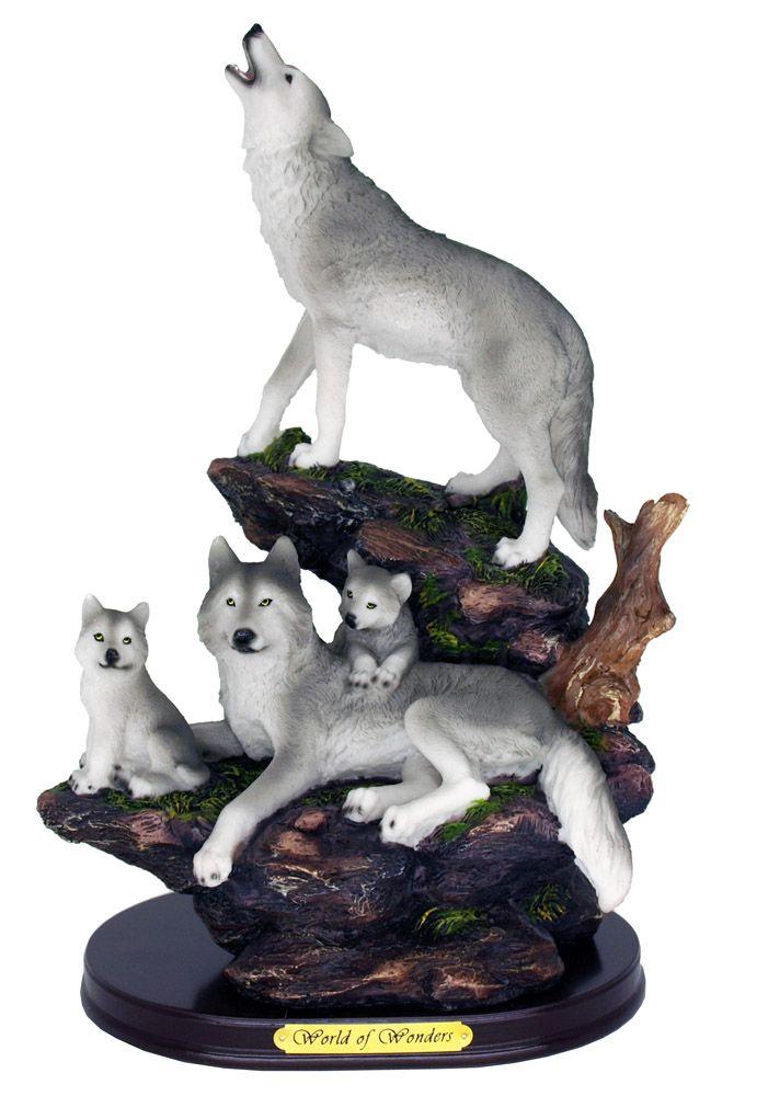 Sanctuary Wolves on Rock Statue