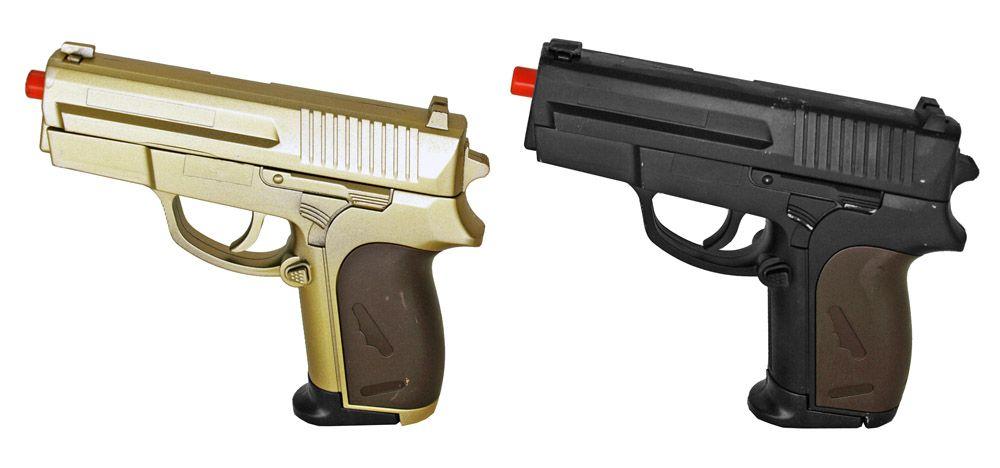 Dual P.618 Spring Airsoft Hand Guns - Gold & Black