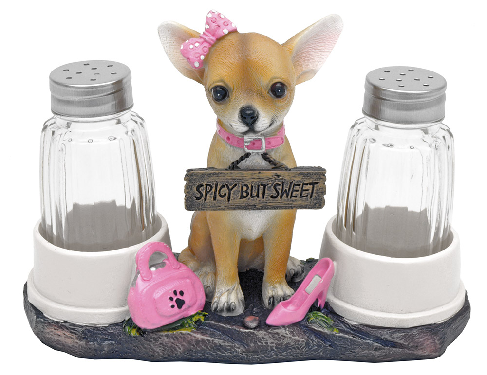 Haute and Spicy Girl Chihuahua Salt & Pepper Shakers
