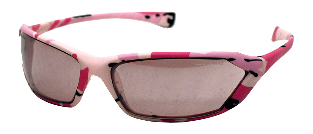 Mirror Lens Safety Glasses - Pink Camo