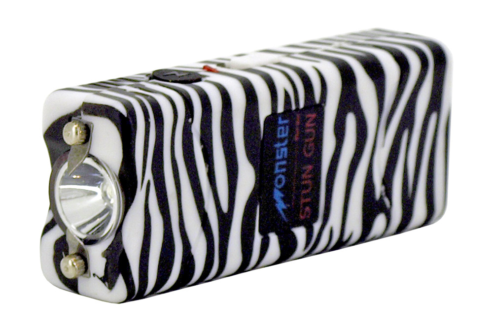 Rechargeable LED Flashlight Stun Gun - Zebra