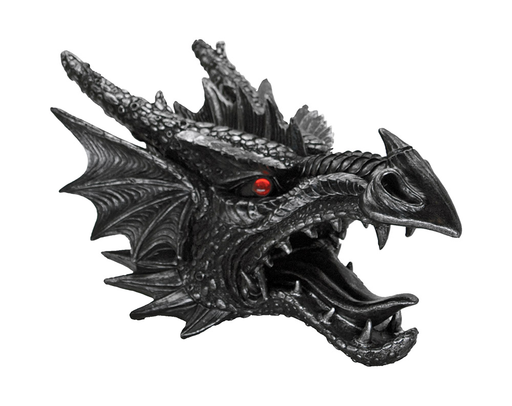 Fierce Saurian Dragon Head Figurine Wall Mount
