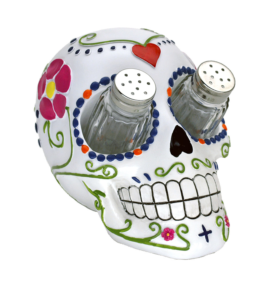 Sugar  inn in Spice Skull Salt and Pepper Shaker Holder