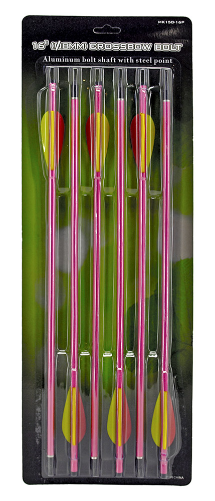 6 - pc. 16 in 8mm Crossbow Bolt - Pink