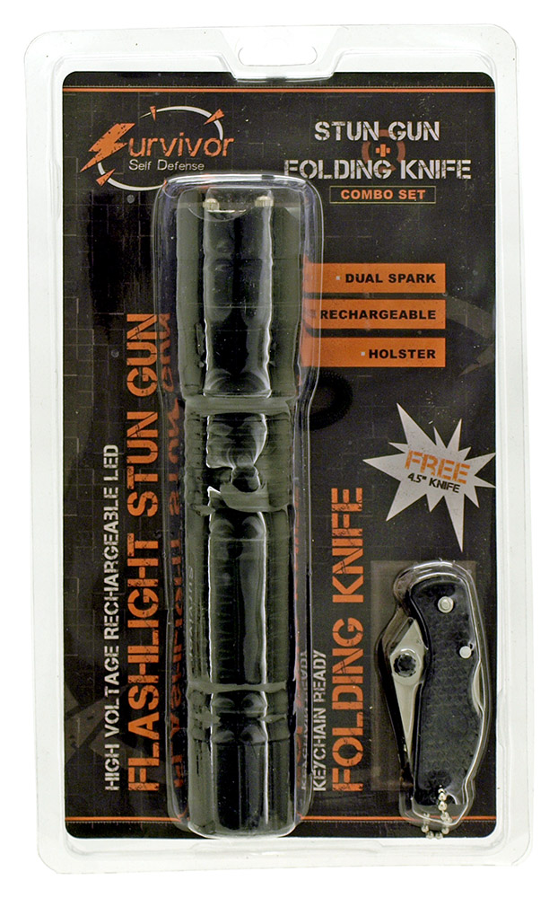 Survivor Series Flashlight Stun Gun and Folding Knife Gift Set - Black