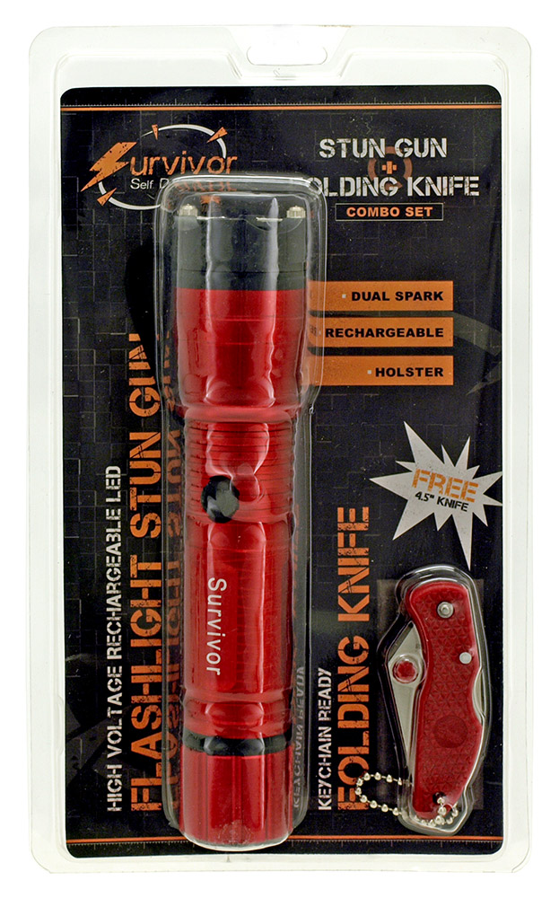 Survivor Series Flashlight Stun Gun and Folding Knife Gift Set - Red