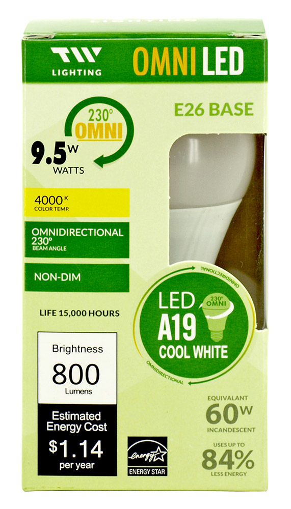 A19 LED Light Bulb - 800 Lumens - 4000K
