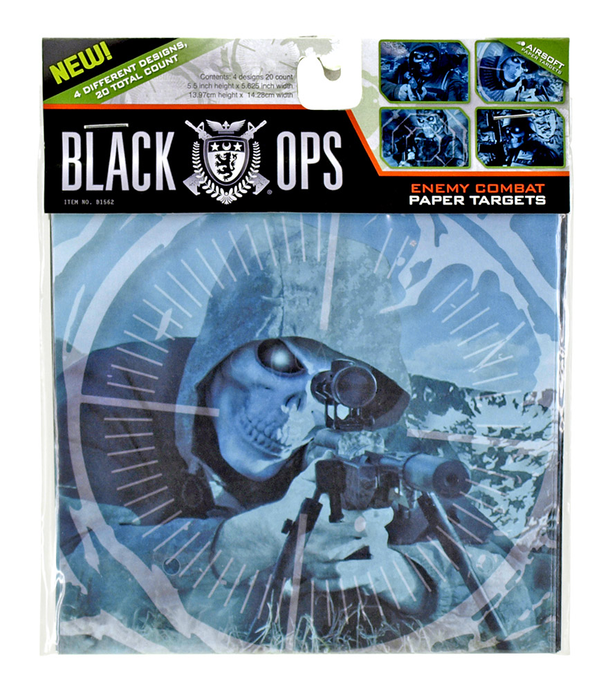 20 - pk. 5.75 in x 5.5 in Black Ops Enemy Combat Shooting Targets