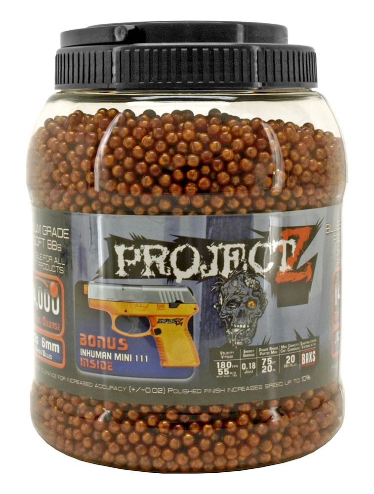 14,000 - pc. Project Z .12g 6mm Airsoft BB's - Metallic Orange