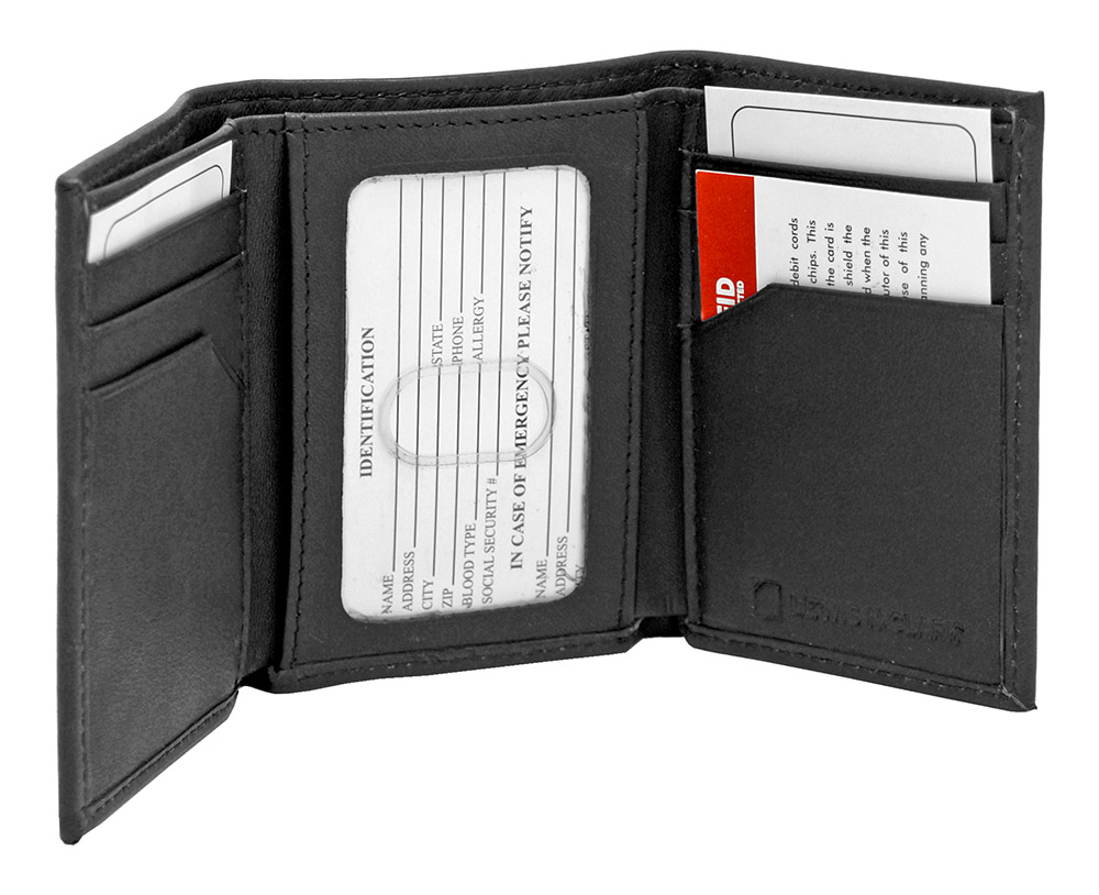 Tri-Fold RFID Blocking Wallet - Black Leather