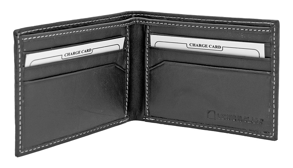 Bi-Fold RFID Blocking Wallet - Black Leather