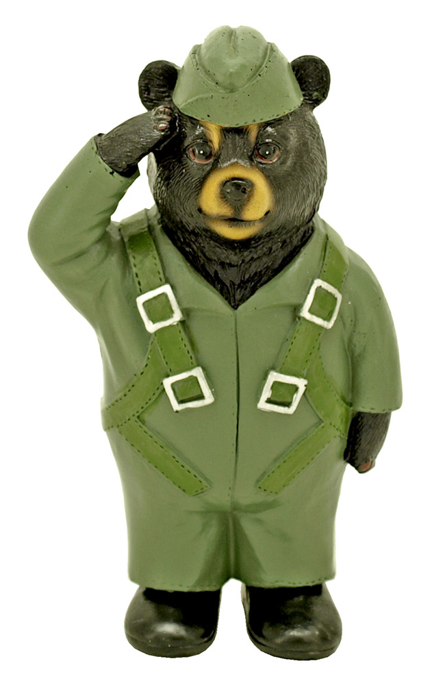 Honor Military Bear Statue (Assorted Styles and Colors)